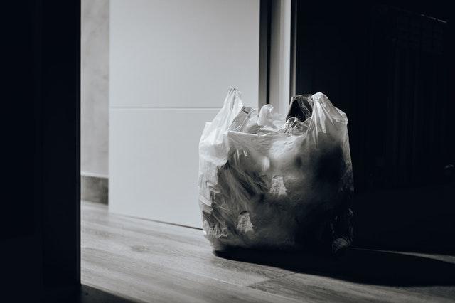 Trash bag near the door